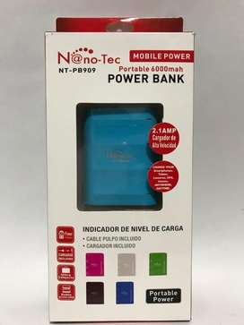 Power bank NanoTech de 6000mah y 2,1amp