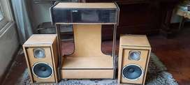 Mueble retro de los 70 para música con dos un conector para los parlantes