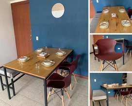 Comedor pino listonado ( Incluye sillas)