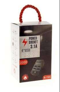 Multitoma corriente 2 socket 4 Extencion Usb Cargador X 4 Puertos Usb 3.1a