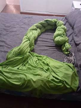 Vendo tela jersey para acrotela , verde 24mtrs con soga