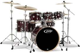 Batería - PDP Pacific Drums 7 piece Maple Shell Set (Red to Black Sparkle Fade)