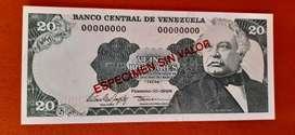 Billete especimen de 20 bolivares