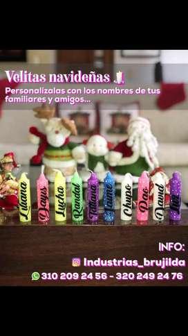Velitas Navideñas Personalizadas