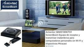 Actiontec SBWD100KIT01 ScreenBeam Equipo de receptor y transmisor inalámbrico para computadoras personales sin Wi-Fi y d