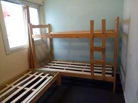 Cama cucheta de pino (cama de una plaza de regalo)