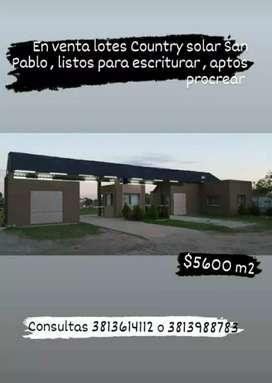 Vendo terrenos country Solar de San Pablo