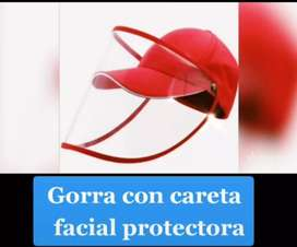 Gorra con careta facial protectora