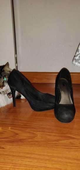Zapatos Negros Tacon Alto Talla 39