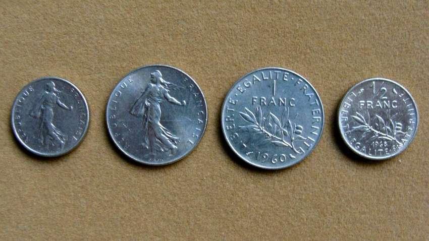 Monedas de ½ y 1 franco Francia 1965 - 2000 0