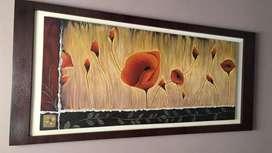 Cuadro, Arte flores con marco enchapado