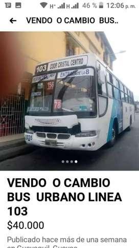 Se vende bus urbano en Guayaquil línea 103 año 2004         recibo camioneta como parte de pago precio 28000 negociables