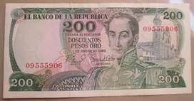 Billete de 200 pesos Colombia imagen del cafetero