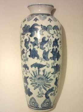 Antiguo Jarrón de Porcelana Oriental Old Blue