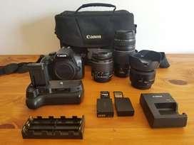 CANON T6 con 3 lentes y accesorios extras. NEGOCIABLE