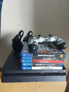 Ps4 con 7 juegos y 3 controles, 1 tera de almacenamiento
