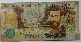 BILLETE DE 5000 PESOS COLOMBIA