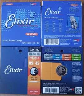 Cuerdas Guitarra Electrica ELIXIR c/recubrimiento NANOWEB - 009 / 046  ó  010 / 052 y OTRAS - Custom Light