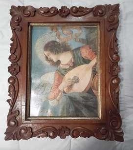 Cuadro de Ángel tallado en madera
