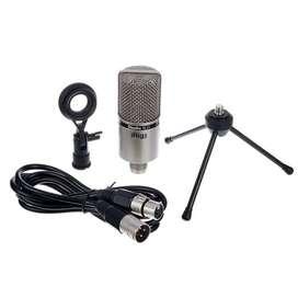 Micrófono de condensador Irig Studio XLR Con base de escritorio y cable incluído