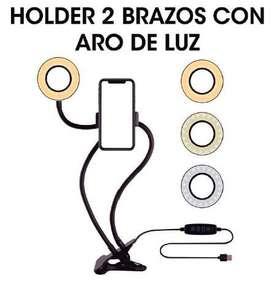 HOLDER 2 BRAZOS CON ARO DE LUZ