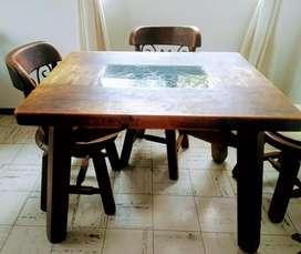 Juego de Comedor y cama rústica con mesa