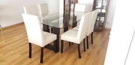 Juego de comedor rectangular madera/vidrio + 6 sillas forradas en tela beige