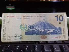 Billete de 10 colones 1998