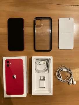 iPhone 11 Red de 128gb con pantalla de seguridad y estuche anti golpes.