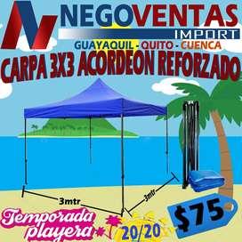 CARPA PLEGABLE 3X3 MODELO ACORDEON ESTRUCTURA METALICA REFORZADA LONA IMPERMEABLE