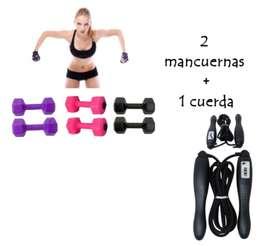 Kit Mancuernas Par con Cuerda Lazo Saltar Ejercicio Funcional Fitness