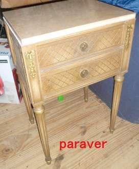 Magnifica mesa de luz estilo frances romantico luis xvi marmól herrajes bronce