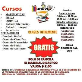 Clases de matemáticas, física, química, ser bachiller,calculo iferencial, cálculo integral y estadistica.