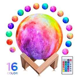 Lampara Luna 3d Recargable Colores Galaxia Base + Control
