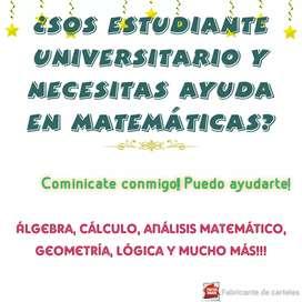 Clases particulares de matemáticas (nivel primario, secundario, terciario y/o universitario)