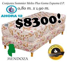 Sommier mas colchon Plus 1 plaza. Cama o Conjunto Somier! EN MENDOZA! WHATSAPP 261- 460- 7416 mza100