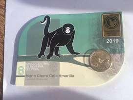 blister mono choro cola amarilla moneda colección Perú