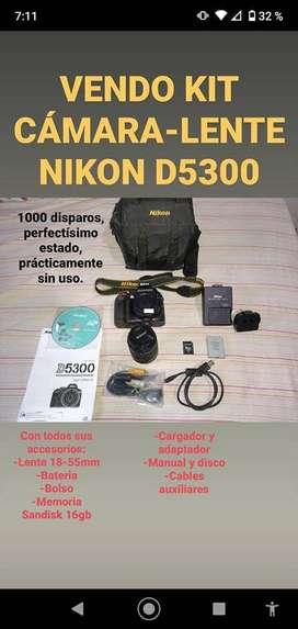NIKON D5300 REFLEX + LENTE 18-55mm + BOLSO + MEMORIA SanDisk 16gb
