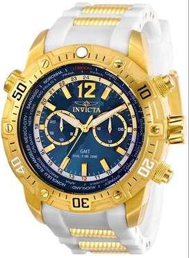 Reloj Hombre Invicta Aviator Gmt Crono Dorado Blanco 29918