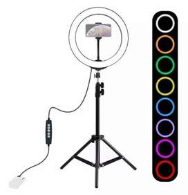Aro Multi Colores Luz Lampara Led 26cm Ajustable + Tripode