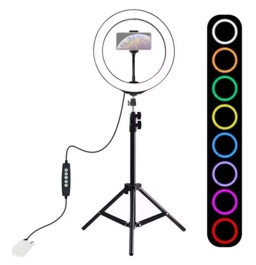 Aro Multi Colores Luz Lampara Led 26cm Ajustable + Tripode 0