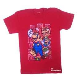 Camiseta Estampada Para Niño Roja De Mario