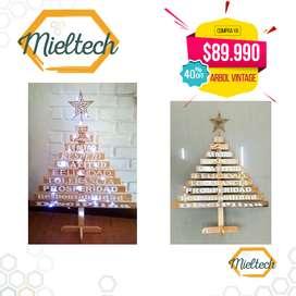 Arbol de Madera Navidad Vintage  Instalación 30 Luz Microled