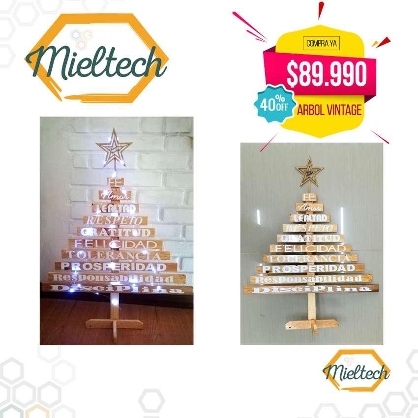Arbol de Madera Navidad Vintage  Instalación 30 Luz Microled 0