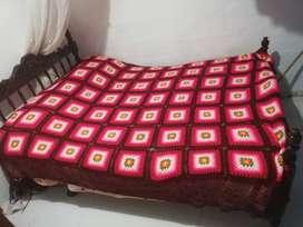 tendido de crochet con variedad de colores.