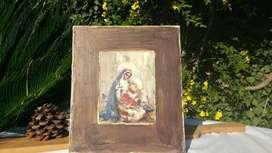 Cuadro en madera con figura Virgen Madre