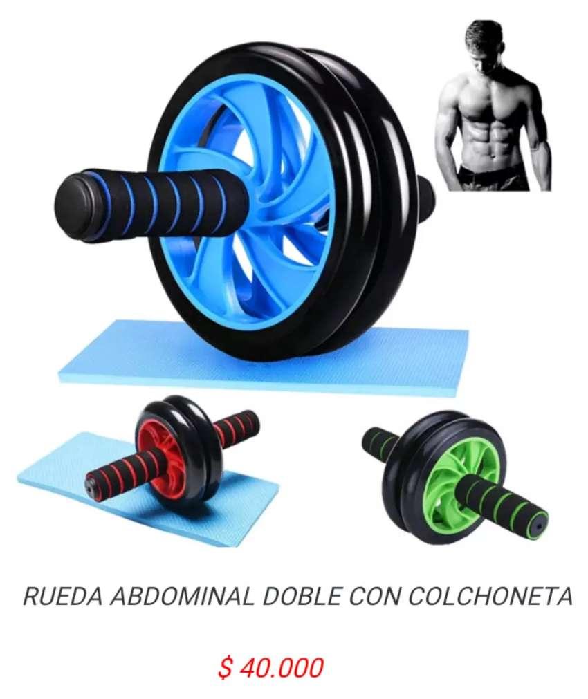 Rueda rodillo doble abdominal fortalecer abdomen abdominales fitness ejercicio 0