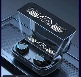 AUDÍFONOS BLUETOOTH TW M10 SUMERGIBLES, SONIDO FULL HD 3D, ESTUCHE POWERBANK, LINTERNA, PANTALLA LED MEDIDOR DE CARGA.