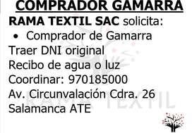 COMPRADOR DE GAMARRA CON EXPERIENCIA