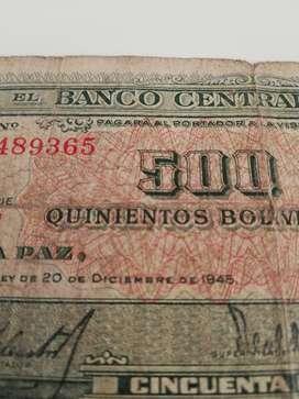 Billete antiguo de 500 bolivianos